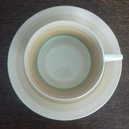 Clarice Cliff Art Deco Banded Conical Cup and Saucer image-3