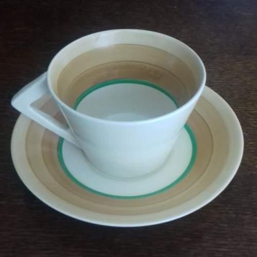 Clarice Cliff Art Deco Conical Banded Cup and Saucer image-6
