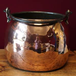 19th Century Victorian Copper Cauldron with Wrought Iron Swing Handle