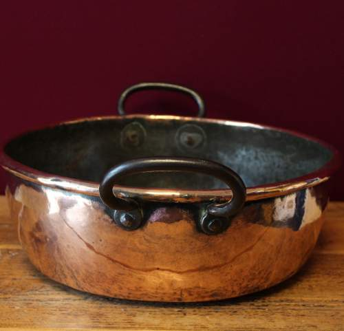 Heavy Victorian Copper Two Handled Cooking Pan image-1