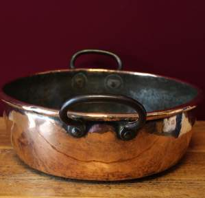 Heavy Victorian Copper Two Handled Cooking Pan