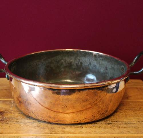 Heavy Victorian Copper Two Handled Cooking Pan image-2