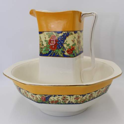 Victorian Wash Jug and Bowl by Newhall Hanley Staffordshire image-1
