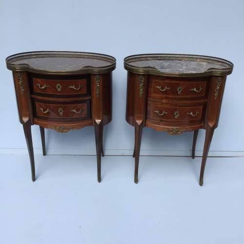 Pair of French Two Drawer Marble Topped Bedside Chests image-1