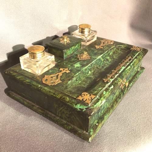 French Faux Malachite Green Writing Slope image-1