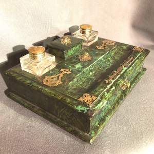 French Faux Malachite Green Writing Slope