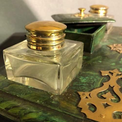 French Faux Malachite Green Writing Slope image-4
