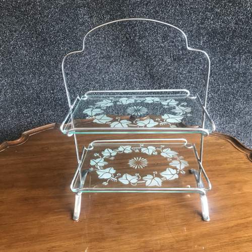 1960s Chrome Two Tier Cake Stand With Etched Glass Shelves image-1
