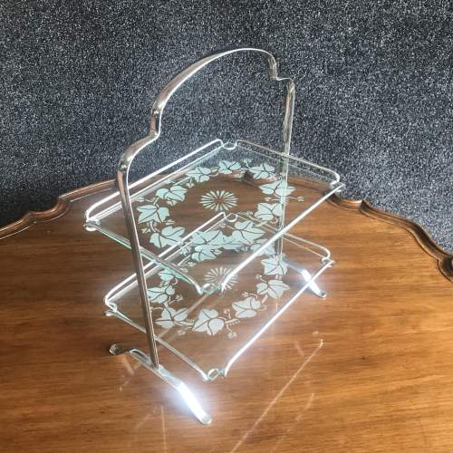 1960s Chrome Two Tier Cake Stand With Etched Glass Shelves image-2