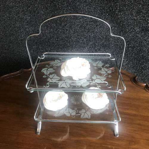 1960s Chrome Two Tier Cake Stand With Etched Glass Shelves image-4