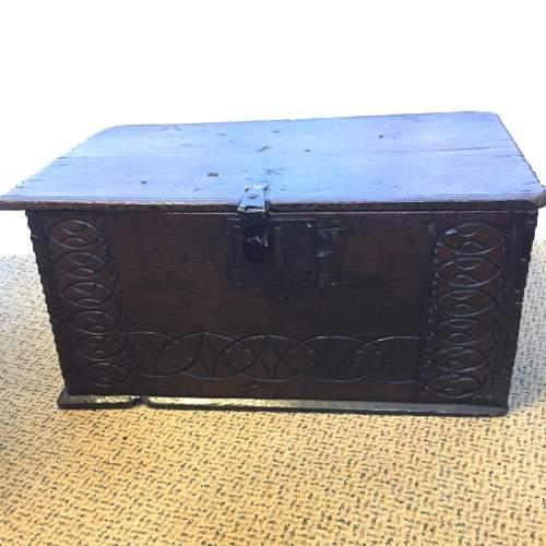 Oak Coffer Chest Circa 1800 image-1