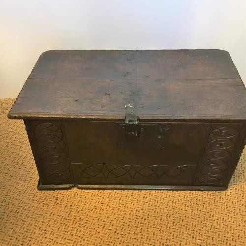 Oak Coffer Chest Circa 1800 image-2