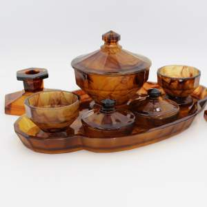 George Davidson Amber Cloud Glass Dressing Table Set