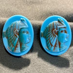 1930s Glass Egyptian Style Earclips