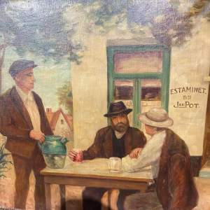 Stunning Old Oil On Canvas By E Peeters Cafe Scene