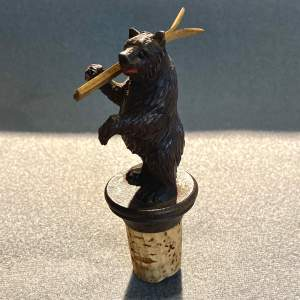 19th Century Black Forest Bear Bottle Stopper