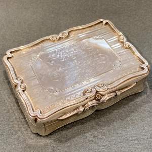 Large Victorian Nathaniel Mills Silver Table Snuff Box