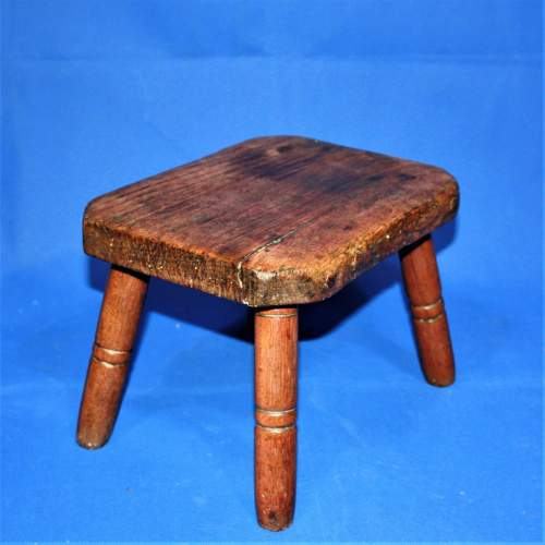 Country Made Footstool on Turned Legs image-1