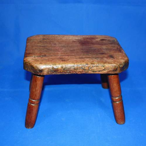 Country Made Footstool on Turned Legs image-3