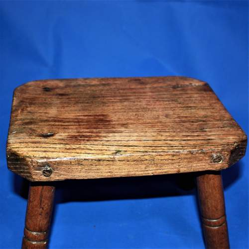 Country Made Footstool on Turned Legs image-5