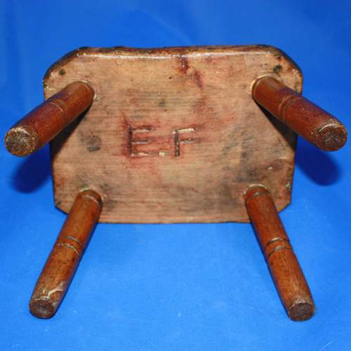 Country Made Footstool on Turned Legs image-6