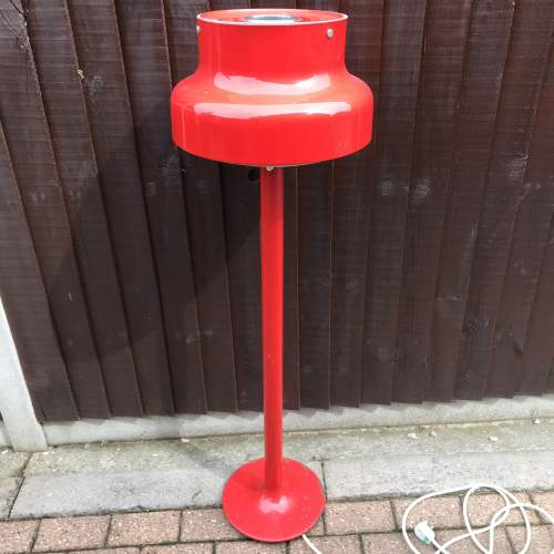 Red Enamel Bumling Standard Lamp by Anders Pehrson Circa 1965 image-1