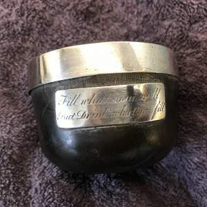 18th Century Silver and Bog Oak Mazer with Engraved Coronet