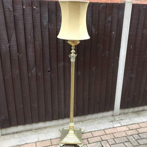 Antique Adjustable Brass Standard Lamp adapted for Electricity image-1