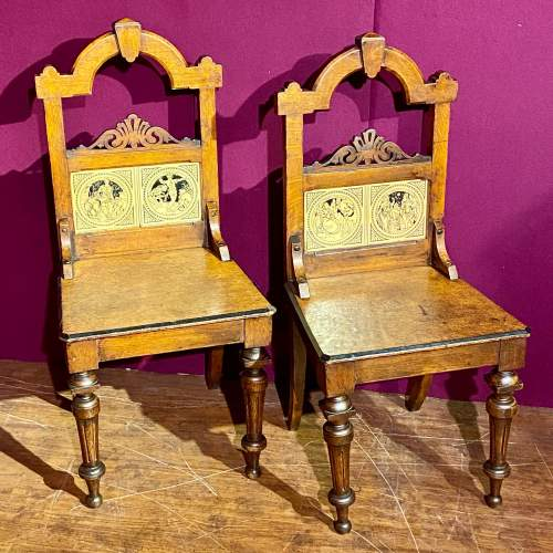Pair of Victorian Oak Hall Chairs with Minton Tile Detail image-1