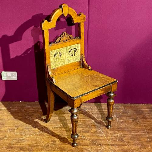 Pair of Victorian Oak Hall Chairs with Minton Tile Detail image-2