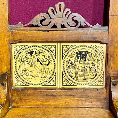 Pair of Victorian Oak Hall Chairs with Minton Tile Detail image-3