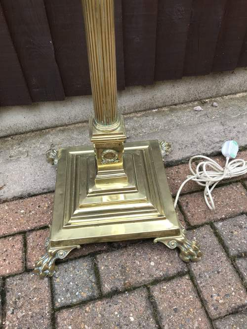 Antique Adjustable Brass Standard Lamp adapted for Electricity image-5