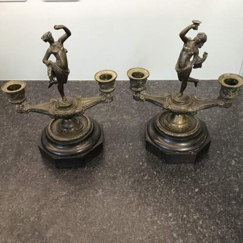 A Fine Pair of Antique Bronze Classical Double Candlesticks image-1