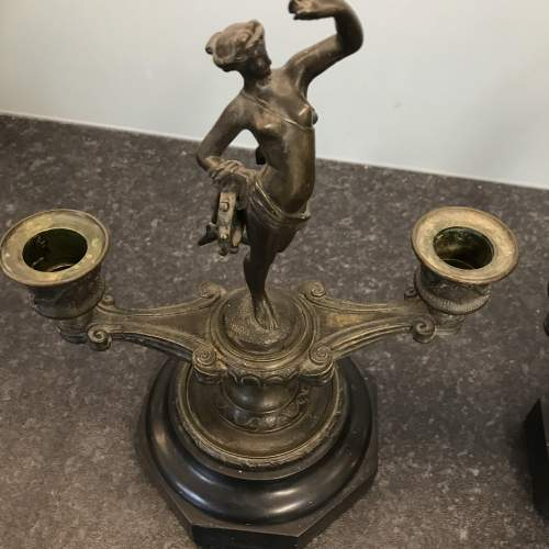 A Fine Pair of Antique Bronze Classical Double Candlesticks image-2
