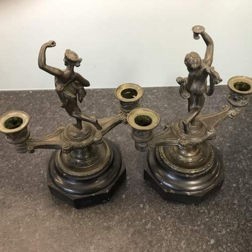 A Fine Pair of Antique Bronze Classical Double Candlesticks image-4
