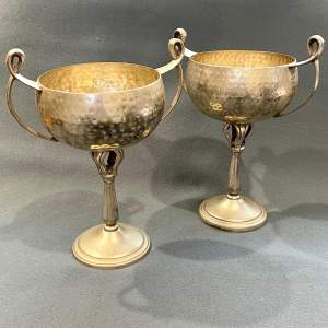 Pair of Arts and Crafts Silver Plated Chalices