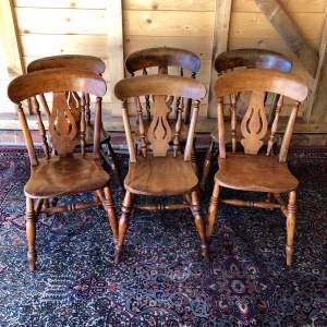 Harlequin Set of Six Fiddle Back Kitchen Chairs