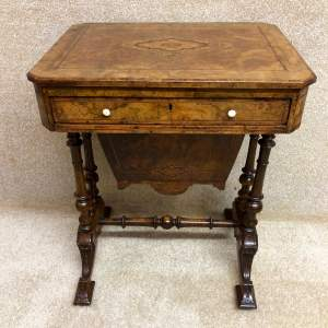 Mid 19th Century Inlaid Walnut Work Table