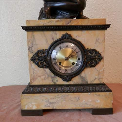 French Bronze and Sienna Marble Mantel Clock Circa 1830 image-5