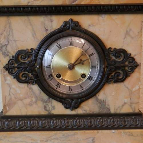 French Bronze and Sienna Marble Mantel Clock Circa 1830 image-6