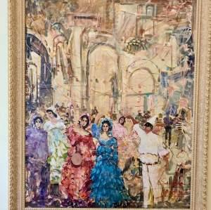 Mario Sanzone Mascherato Masquerade Oil On Canvas Painting