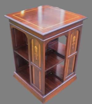 Art Nouveau Inlaid Revolving Bookcase