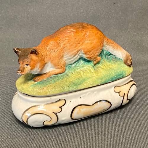 German Thuringian Pottery Fox Trinket Box image-1