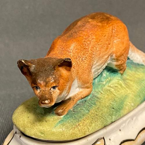 German Thuringian Pottery Fox Trinket Box image-2