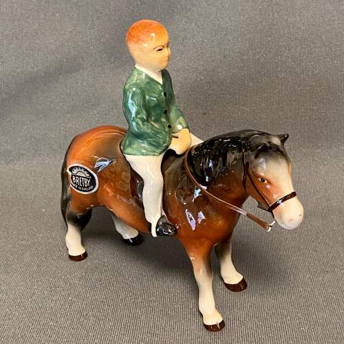 Unusual Bretby Model of a Pony and Rider image-1