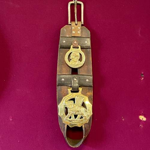 Victorian Horse Leather Tack Strap with Two Brasses image-1