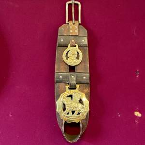 Victorian Horse Leather Tack Strap with Two Brasses