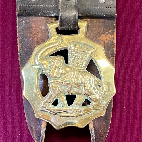 Victorian Horse Leather Tack Strap with Two Brasses image-2