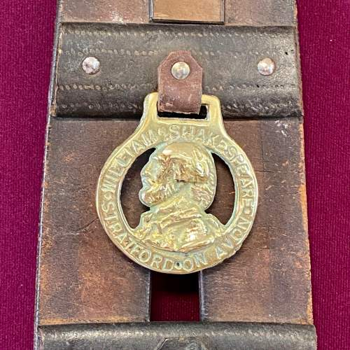 Victorian Horse Leather Tack Strap with Two Brasses image-3