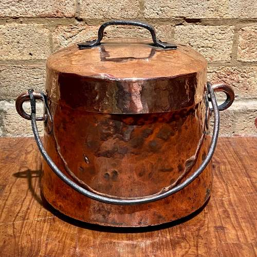 Antique Copper Cooking Pot with Lid image-1